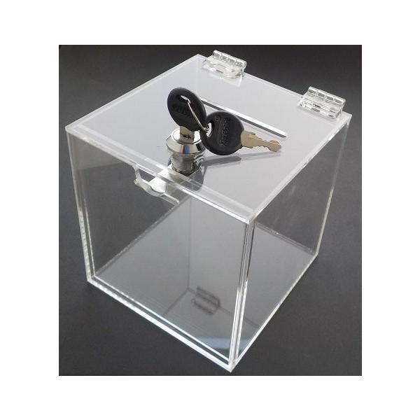 Aoakua アクリル 鍵付き 貯金箱 募金箱 チャリティーBOX W12cmクリア|kaedenomori|02