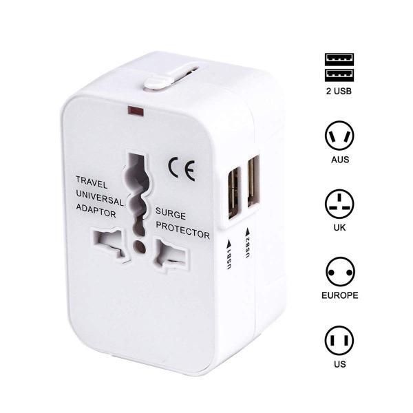 海外安全旅行充電器 コンパクトな コンセント 2USBポート変換プラグ 電源プラグ 旅行アダプター 壁の充電器 NONNBIRI (ホワイト)|kaedenomori
