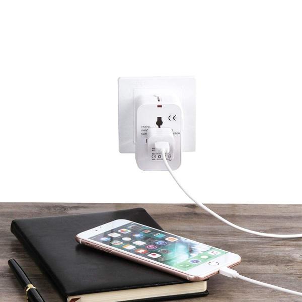 海外安全旅行充電器 コンパクトな コンセント 2USBポート変換プラグ 電源プラグ 旅行アダプター 壁の充電器 NONNBIRI (ホワイト)|kaedenomori|05