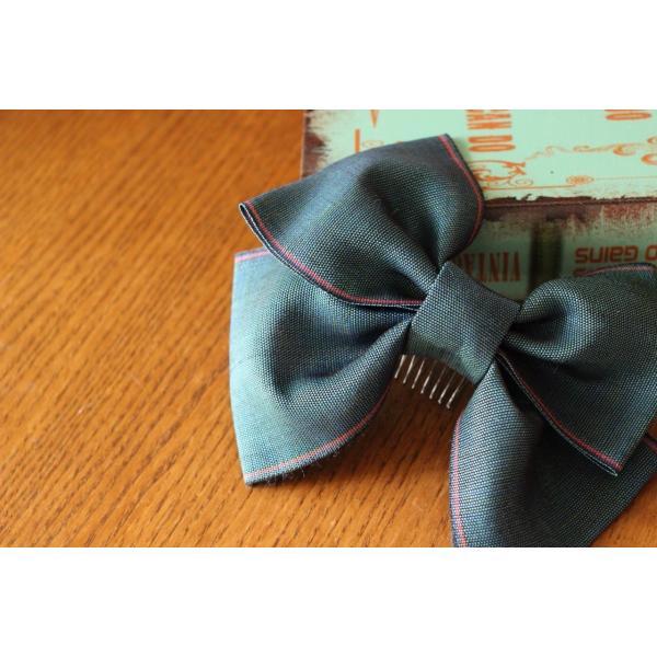 青緑 リボン 髪飾り 卒業式 袴  成人式 和装 振袖  入学式 七五三 結婚式 パーティー|kaen|02