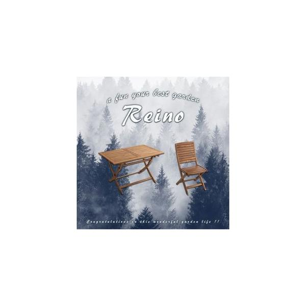 折りたたみガーデンテーブル・チェア(5点セット)人気のアカシア材、パラソル使用可能   reino-レイノ-[03]