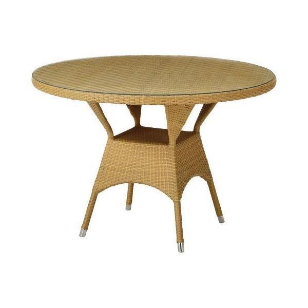 ガーデンテーブル 屋外仕様 籐風テーブル ナチュラル 籐風 ラタン風 テーブル 天板 ガラス 机 ダイニング 円形 丸テーブル ダイニングテーブル