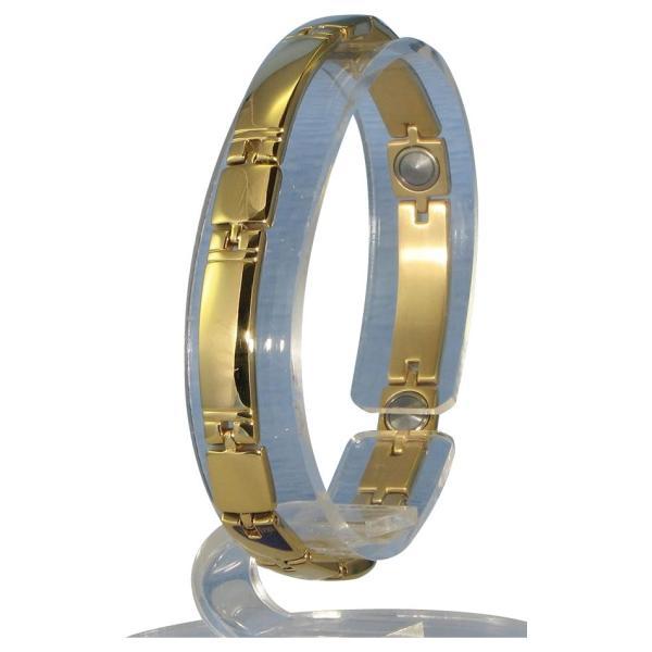 送料無料 MARE(マーレ) ゲルマニウム5個付ブレスレット GOLD/IP ミラー 119G M (18.7cm) H9259-07M