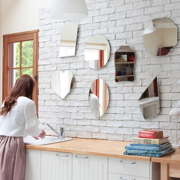 鏡 貼る 壁掛け トイレ おしゃれ 楕円 オーバル|kagamishop|12