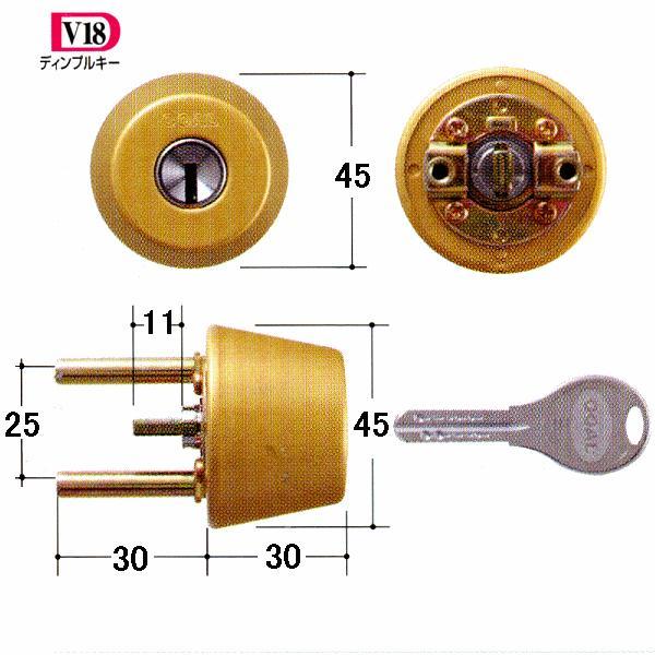 GOAL 鍵 交換 取替用 V-TX 2691シル 扉厚34〜37mm (ディンプルキー) テール刻印34