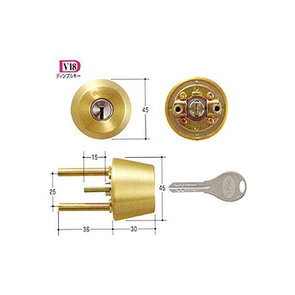 GOAL(ゴール) TX・TTX用交換シリンダー純正品 GCY-250 ドアの厚み43mm〜46mmゴールド(光沢あり) 単品 GCY250