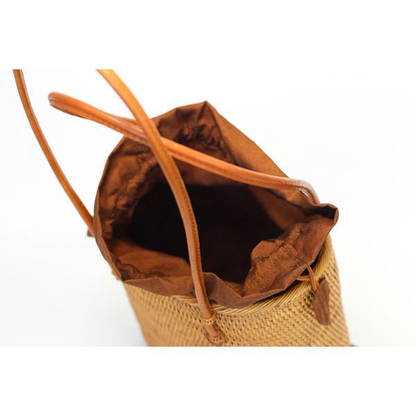 アタバッグ カゴバッグ バリ島 おしゃれ モダン 手作り ハンドバッグ  エスニック オーバル型巾着仕様 和装バッグ 「幅22cm」 No112