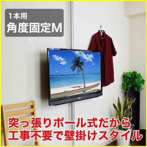 壁掛け風 壁寄せテレビスタンド 22-32V型対応 エアーポール 1本タイプ 角度固定M シルバー ap-111 エモーションズ|kagu-11myroom