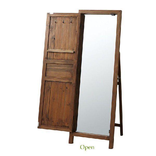 スタンドミラー(鏡) 木製フレーム 姿見鏡 ドアミラー ルーアン AZ-TSM-13BR 北欧風 アンティーク レトロ 東谷|kagu-11myroom|03