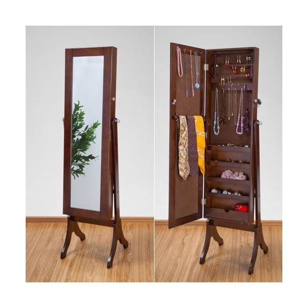 スタンドミラー 姿見 鏡 アクセサリー収納 ハイタイプ ブラウン OSK-ST107BR 大竹産業|kagu-11myroom