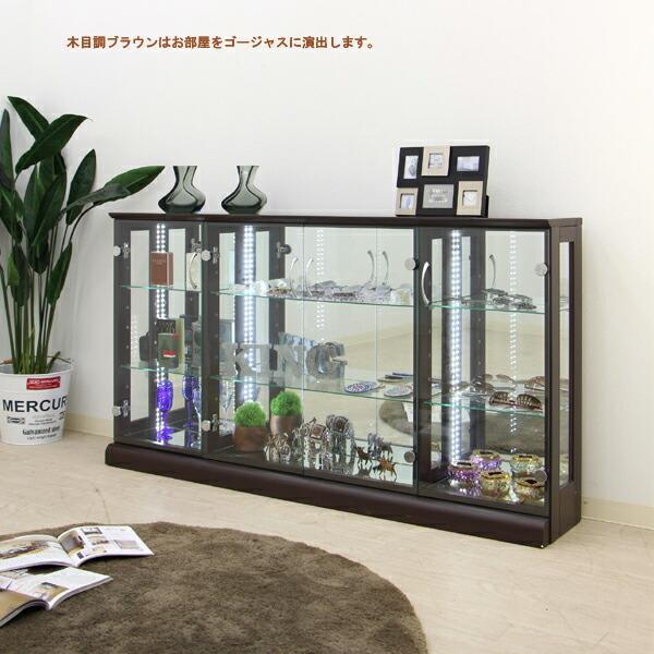 コレクションケース コレクションボード コレクション収納 ロータイプ LED 完成品 幅150 奥行25 高さ80cm 鏡面 ホワイト 完成品 木製 アウトレット価格並|kagu-1|03