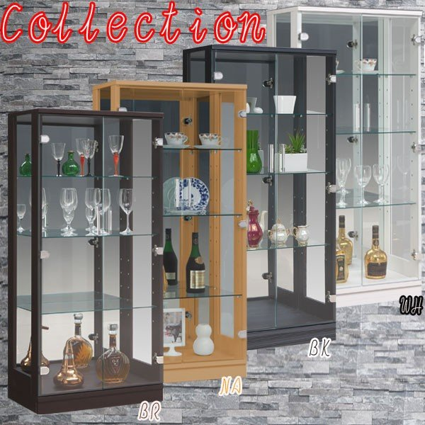コレクションケース コレクションボード ガラスケース コレクションラック 飾り棚 幅60 完成品 モダン 鏡 ホワイト ブラック ナチュラル アウトレット価格並|kagu-1