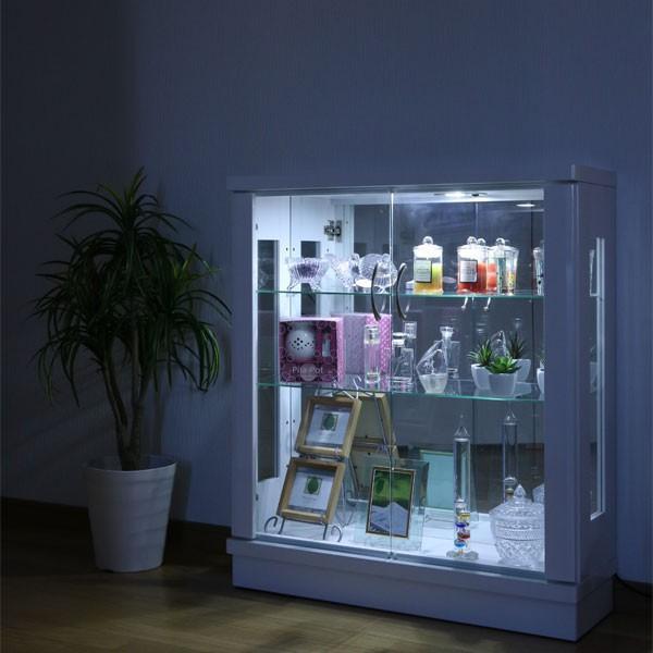 コレクションケース 幅75 薄型 LEDライト フィギュアケース ロータイプ コレクションケース ガラスケース ホワイト ブラック アウトレット価格並 完成品 北欧|kagu-1|07