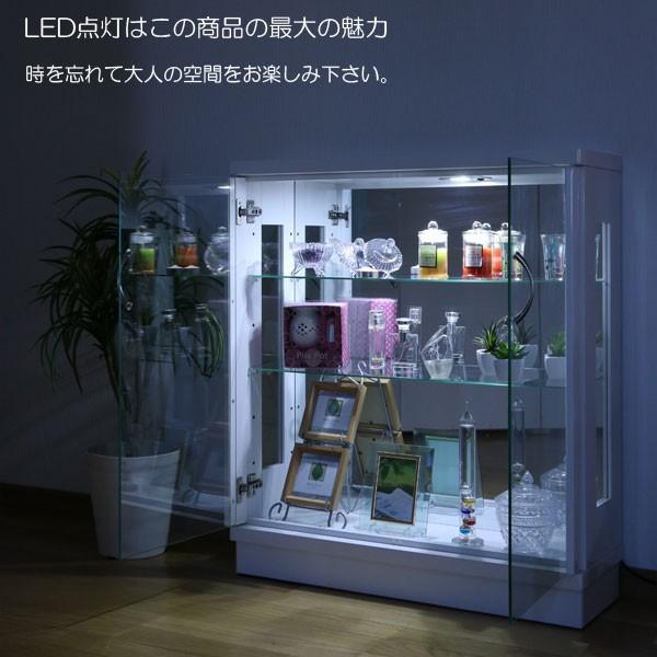 コレクションケース 幅75 薄型 LEDライト フィギュアケース ロータイプ コレクションケース ガラスケース ホワイト ブラック アウトレット価格並 完成品 北欧|kagu-1|08