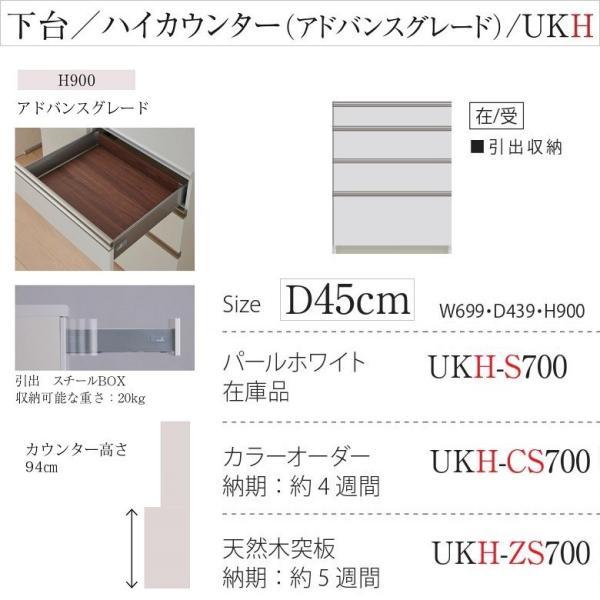 パモウナ 引出収納 UKH-S700 アドバンス 下台 ユニット 幅70cm ハイカウンター高さ 奥行45cm スチールBOX|kagu-hiraka|02