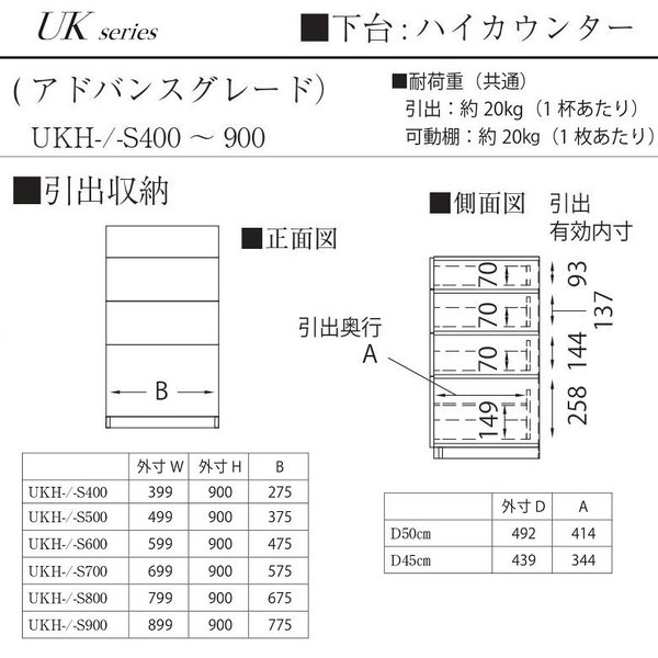 パモウナ 引出収納 UKH-S700 アドバンス 下台 ユニット 幅70cm ハイカウンター高さ 奥行45cm スチールBOX|kagu-hiraka|03