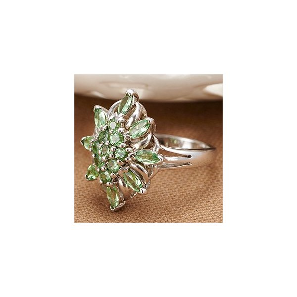 グリーンガーネット リング 指輪 シルバー925製 クラシカル アンティーク フラワー 大きなお花がエレガント レディース ユニセックス ペア|kagu-piena