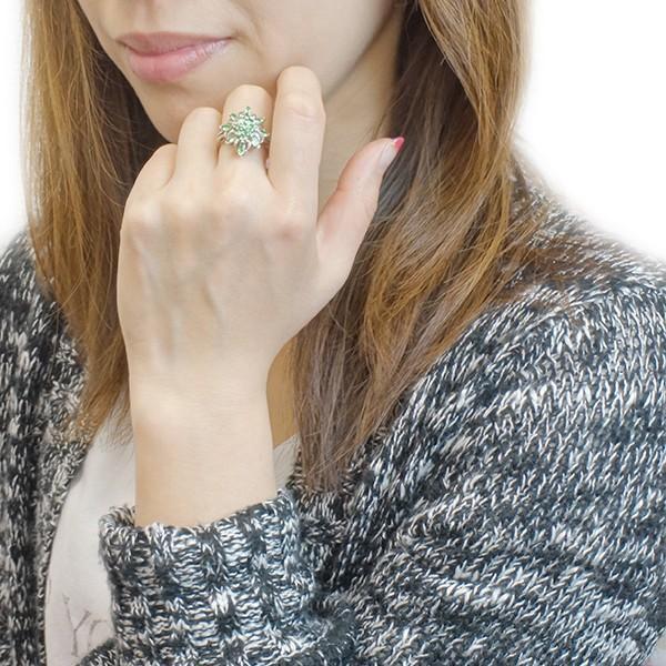 グリーンガーネット リング 指輪 シルバー925製 クラシカル アンティーク フラワー 大きなお花がエレガント レディース ユニセックス ペア|kagu-piena|09