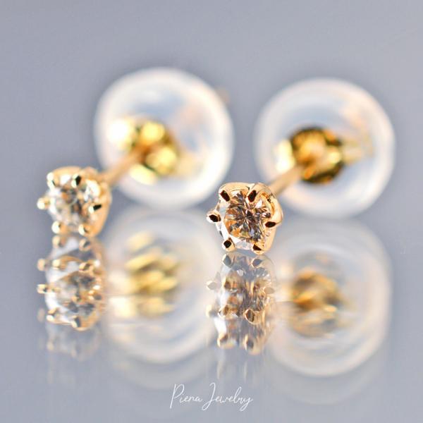 K18一粒ダイヤピアス K18ゴールド ダイヤモンド 0.1カラット 6本爪 タブルロックキャッチ 両耳 日本製 金属アレルギー対応