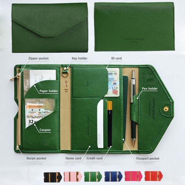 ケース パスポート チケット ケース 多機能 財布 小銭入れ カード入れ 薄型 マルチケース