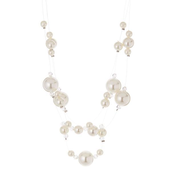 ネックレス パール 3連 グラデーション 真珠 ドレス 上品 エレガント ゴージャス シンプル パーティー