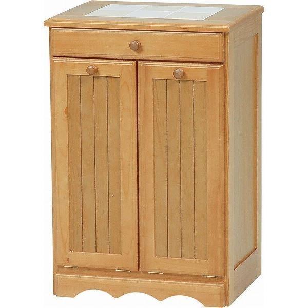 ダストボックス 木製おしゃれゴミ箱 2分別 15Lペール2個/キャスター付き ナチュラル 〔完成品〕〔代引不可〕