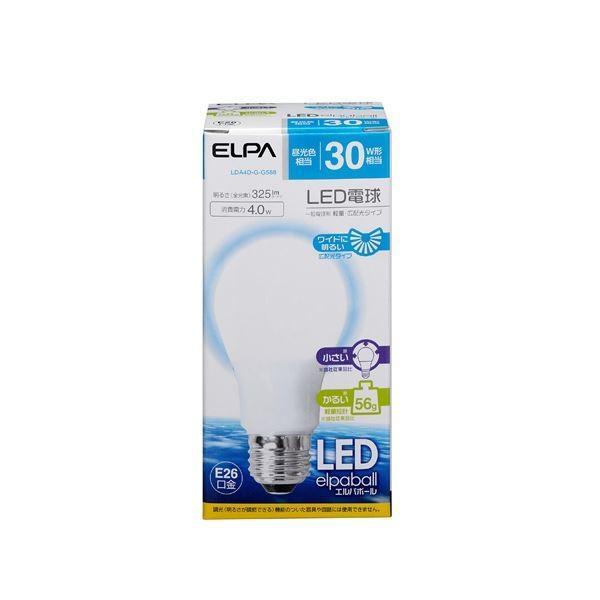 (業務用セット) ELPA LED電球 一般電球A形 30W形 E26 昼光色 広配光 LDA4D-G-G588 〔×10セット〕
