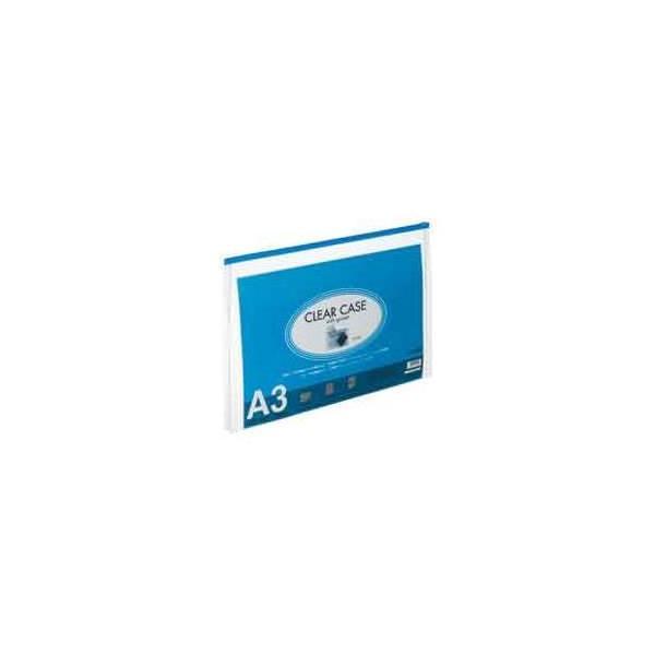 (業務用50セット) LIHITLAB クリアケース/クリアポーチ 〔A3/ワイドマチ付き〕 F71SM-11藍