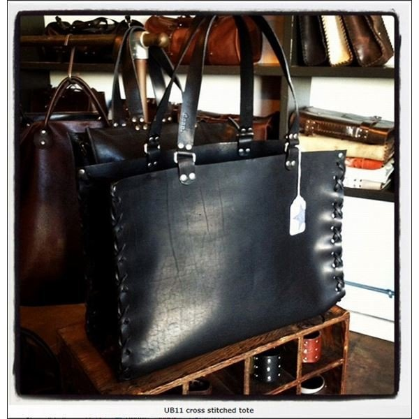 dean(ディーン) crossed stitch tote レザーバッグ 黒