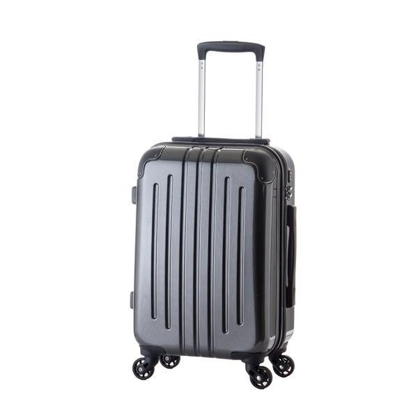 〔機内持ち込み可〕 軽量スーツケース/キャリーバッグ 〔カーボンブラック〕 29L 2.6kg ファスナー 大型キャスター TSAロック