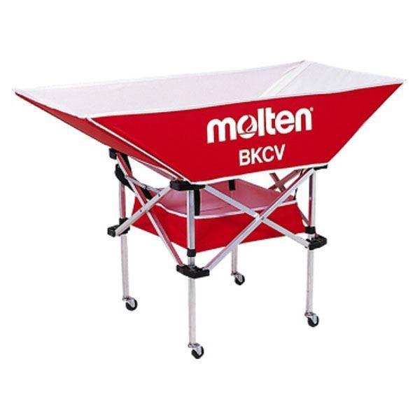 〔モルテン Molten〕 折りたたみ式 平型軽量 ボールカゴ 〔背低 レッド〕 幅128×奥行63cm キャスター ケース付き