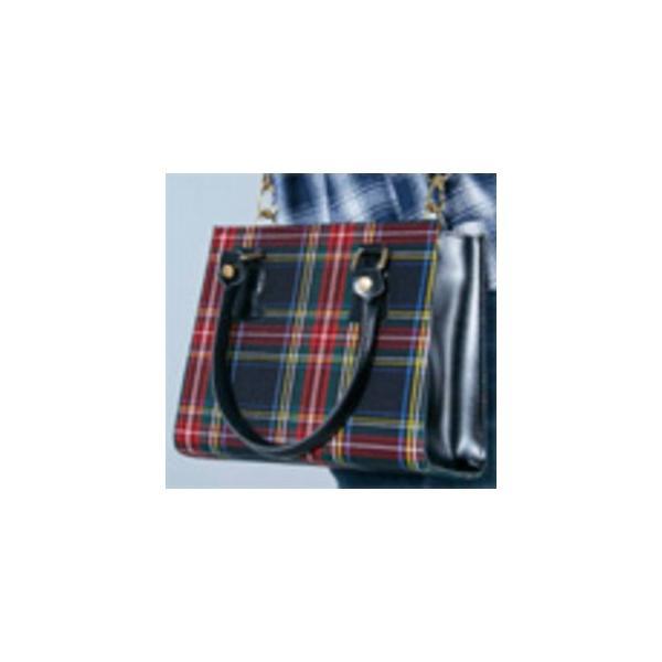 人気デザイン 2Wayチェックのシンプルミニハンドバッグ/ネイビータータン