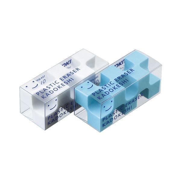 (まとめ) コクヨ 消しゴム カドケシプチ(ブルー・ホワイト) ケシ-U750-1 1パック(2個) 〔×30セット〕