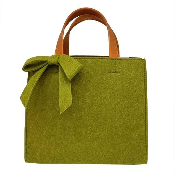 軽量 フェルト素材の仕切り付リボントートバッグ/グリーン