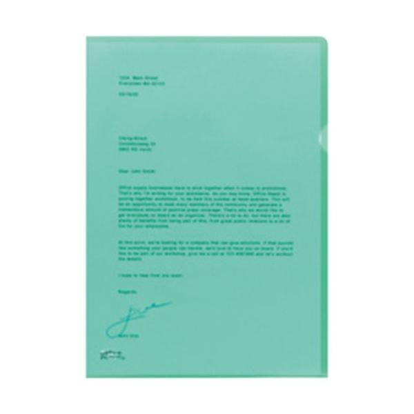 オフィスデポオリジナル 薄型クリアホルダーA4 エンボス加工 グリーン 1箱(100枚×6小箱)