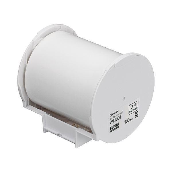 (まとめ)キングジム テプラ Grand テープカートリッジ 100mm 透明 WL100T 1個〔×3セット〕
