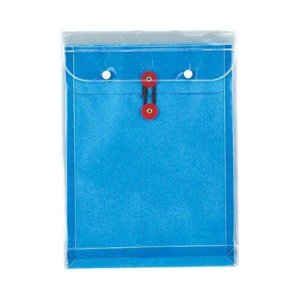 (まとめ) ピース マチヒモ付ビニール保存袋 レザック 角2 184g/m2 青 915 1枚 〔×30セット〕