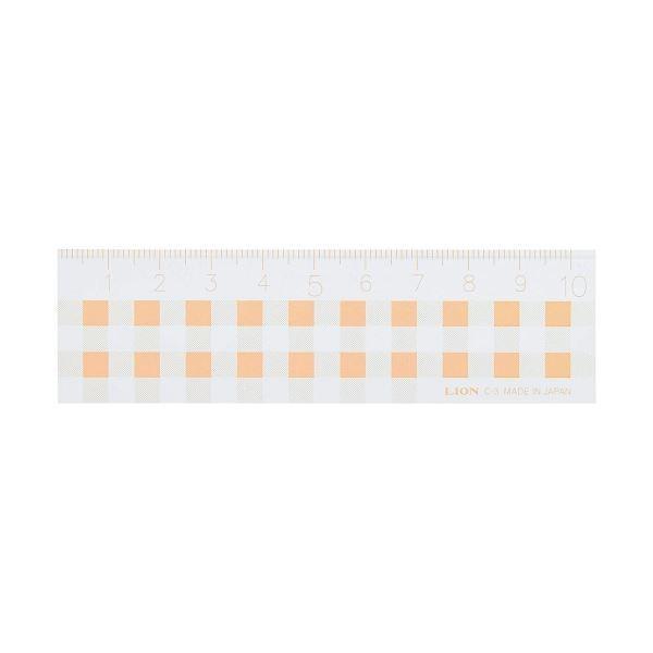 (まとめ) ライオン事務器 ギンガムチェック定規10cm オレンジ C-3 1本 〔×50セット〕