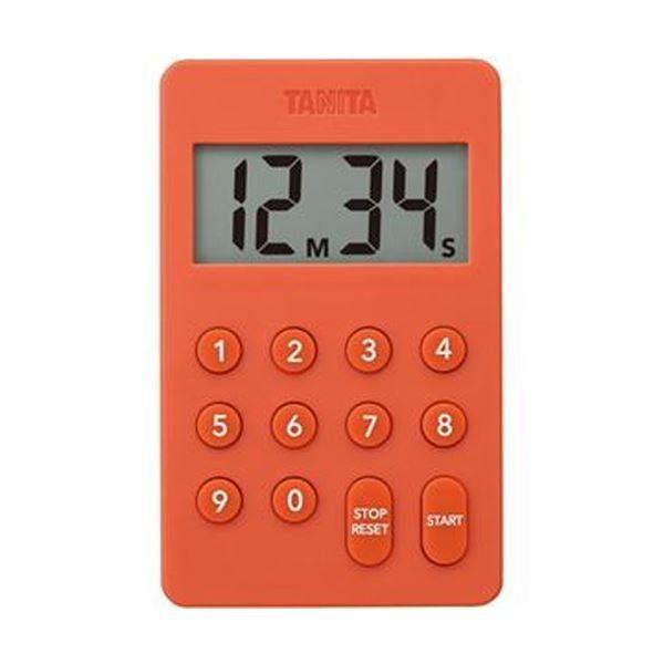 (まとめ)タニタ デジタルタイマー100分計オレンジ TD-415-OR 1個〔×10セット〕