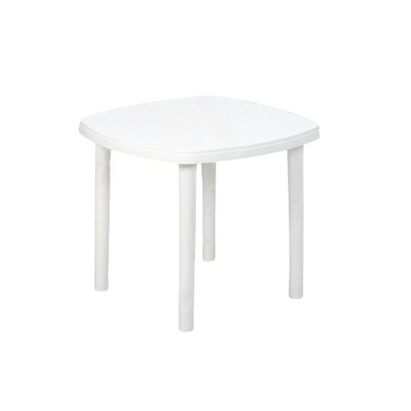 屋外用 パラソル対応 ガーデンテーブル 〔幅84cm ホワイト〕 軽量 持ち運び簡単 日本製 〔アウトドア キャンプ 庭 ベランダ〕〔代引不可〕