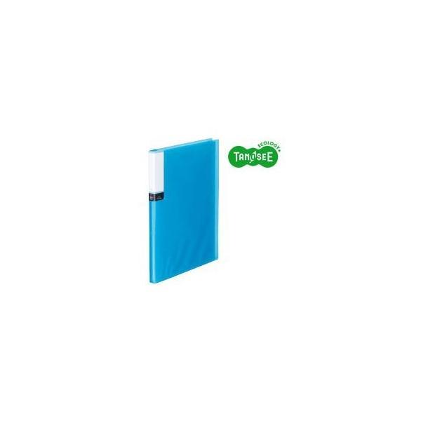 (まとめ)TANOSEE クリアブック(透明表紙) A4タテ 24ポケット ブルー 40冊