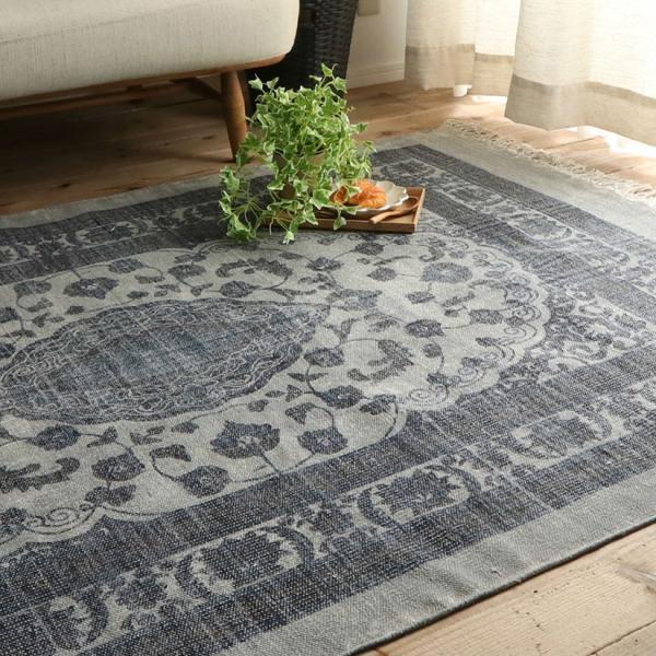 綿100% オリエンタルデザインのストーンウォッシュプリントラグ 130x190cm 約1.5畳|kagu-refined|02