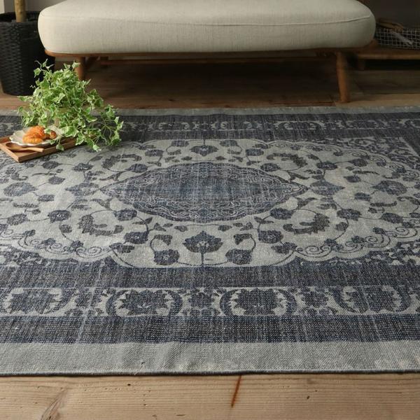 綿100% オリエンタルデザインのストーンウォッシュプリントラグ 130x190cm 約1.5畳|kagu-refined|03