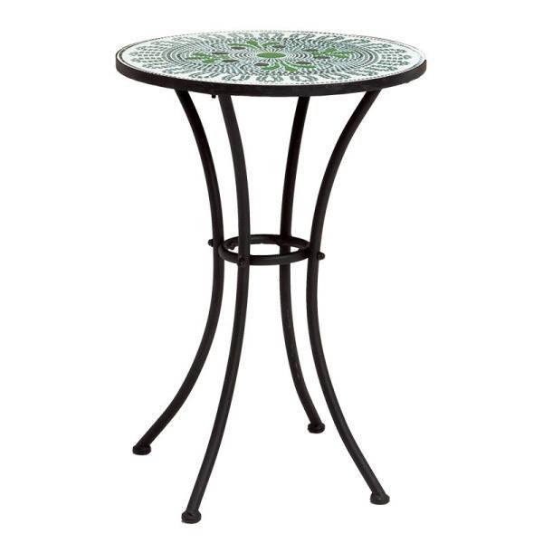 テーブル 幅50 アイアン 屋外 ガーデンテーブル おしゃれ グリーン 緑 スチール ベランダ モザイク 庭 ガーデニング ブルー LT-4185GR