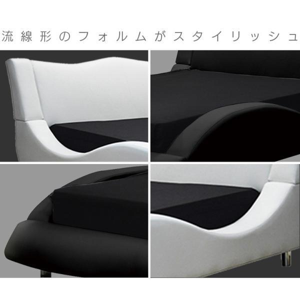 ベッド ダブルベッド ワイド ダブル 流線形 スタイリッシュ ベッドフレーム PVC 選べる2色 ブラック ホワイト モダン 北欧 kagugagoo 02