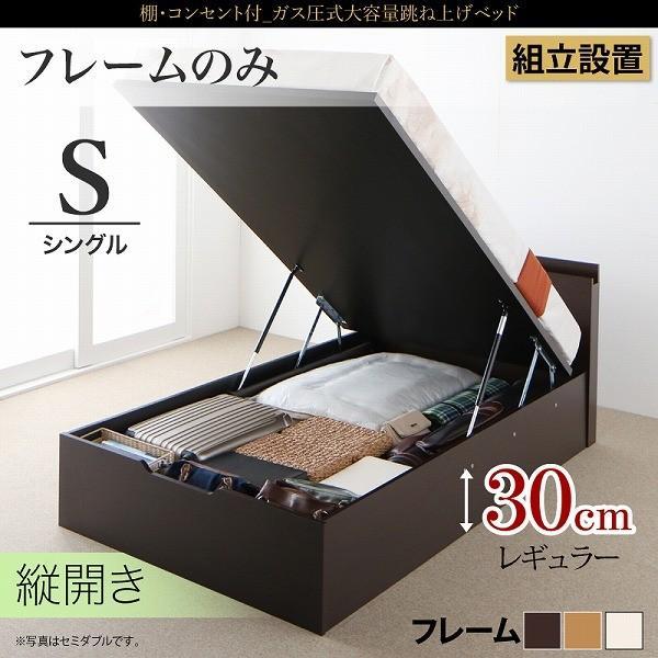 ベッド 収納付き 大容量 組立設置サービス付 ガス圧式跳ね上げベッド ベッドフレームのみ 縦開き シングル レギュラー NEO-Gransta ネオグランスタ