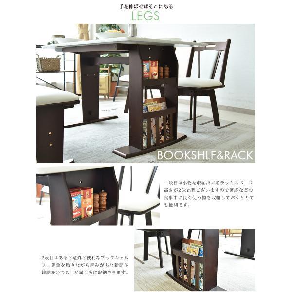 ダイニングテーブルセット 4点 ベンチ 北欧 カフェ 伸長式 回転|kagunomori|06