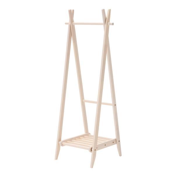 折りたたみハンガー 棚付き ホワイト 収納棚付き 洋服掛け コートハンガー 天然木 木製 kagunoroomkoubou