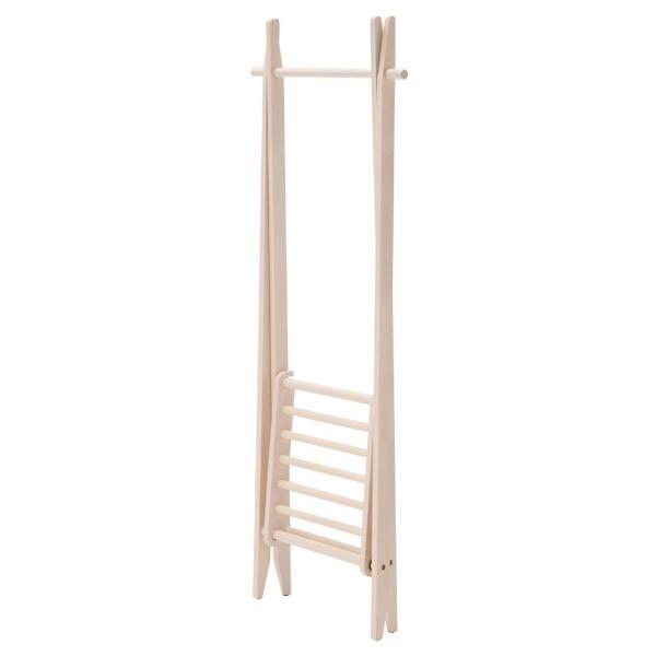 折りたたみハンガー 棚付き ホワイト 収納棚付き 洋服掛け コートハンガー 天然木 木製 kagunoroomkoubou 02