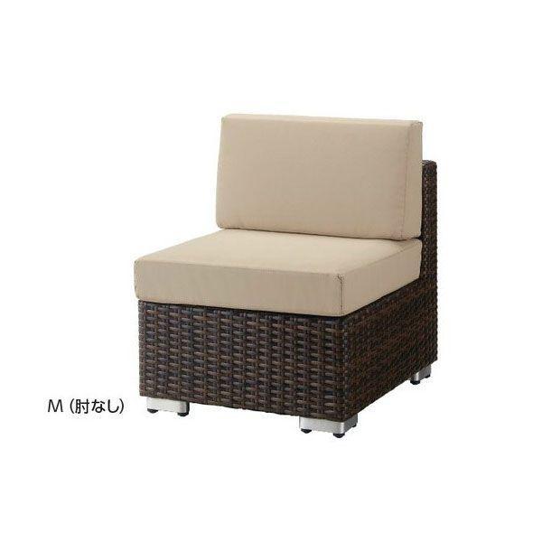 一人掛けソファ クッション付籐ラタン風ガーデンソファー業務用肘無し rhodes-m2